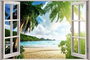 3d vue fen tre effet palmiers plage paradis autocollant for Fenetre wallpaper