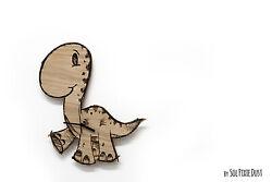 Cute Dinosaur 2 Engraved Wood - Kids Nursery Room, Baby Room - Wall Clock
