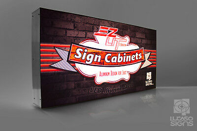 Illuminated Led Signs Storefront Light Boxes Full Color Custom Graphics 72x 24