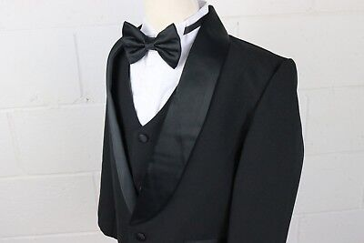 Boys Black Tuxedo suit SOLID LAPEL Satin trim Fancy wedding Bow tie vest pants