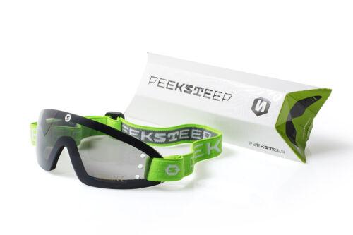 Peeksteep skydiving motorcycle goggles (smoked/green strap)
