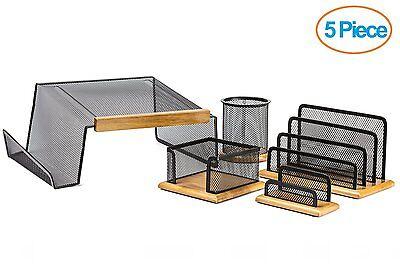 Halter 5 Piece Mesh Wood Office Desk Set-Phone Stand/Pencil Cup/Memo,Card Holder