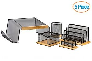 Halter 5 Piece Mesh Wood Office Desk Set-Phone Stand/Pencil Cup/Memo,Card Holder