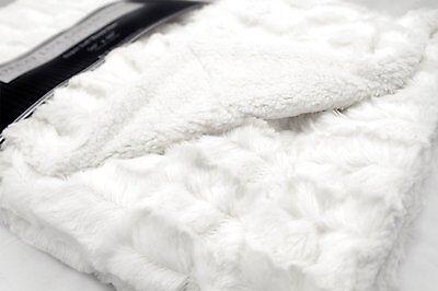 Deco Luxury Faux Fur Sherpa Reversible White Throw Blanket New