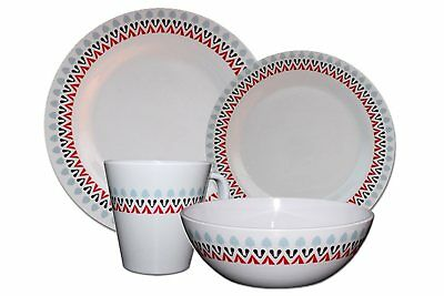 32-Piece Melamine Dinner Set Plates Bowl Mugs Family Picnic Outdoor Dining for 8 ()