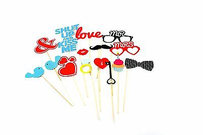 Love Photo Booth Props Accessories - 15 pieces for Wedding, Party, Prom, Friends (Accessories For Photo Booth)