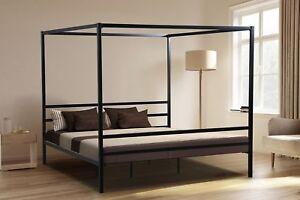 BLACK IRON Metal Canopy KING Size Platform Bed Frame Slats Modern Home Bedroom