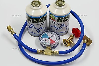 R134a Car Air Con Conditioning Topup Recharge Refill Regas Kit 2pcs