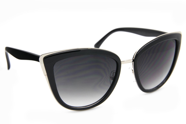 """""""My Girl"""" Cat Eye Women Fashion Sunglasses Oversized Frame Metal Rim Dark Lens"""