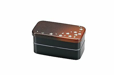 Oblong Bento Box with 2 Floors - Red Sakura