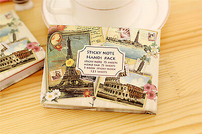 Cute Eiffel Tower Colosseum Hardback Small Vintage Notebook With Sticky Notes