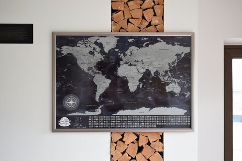 World Scratch Travel Map - Black - with small defects