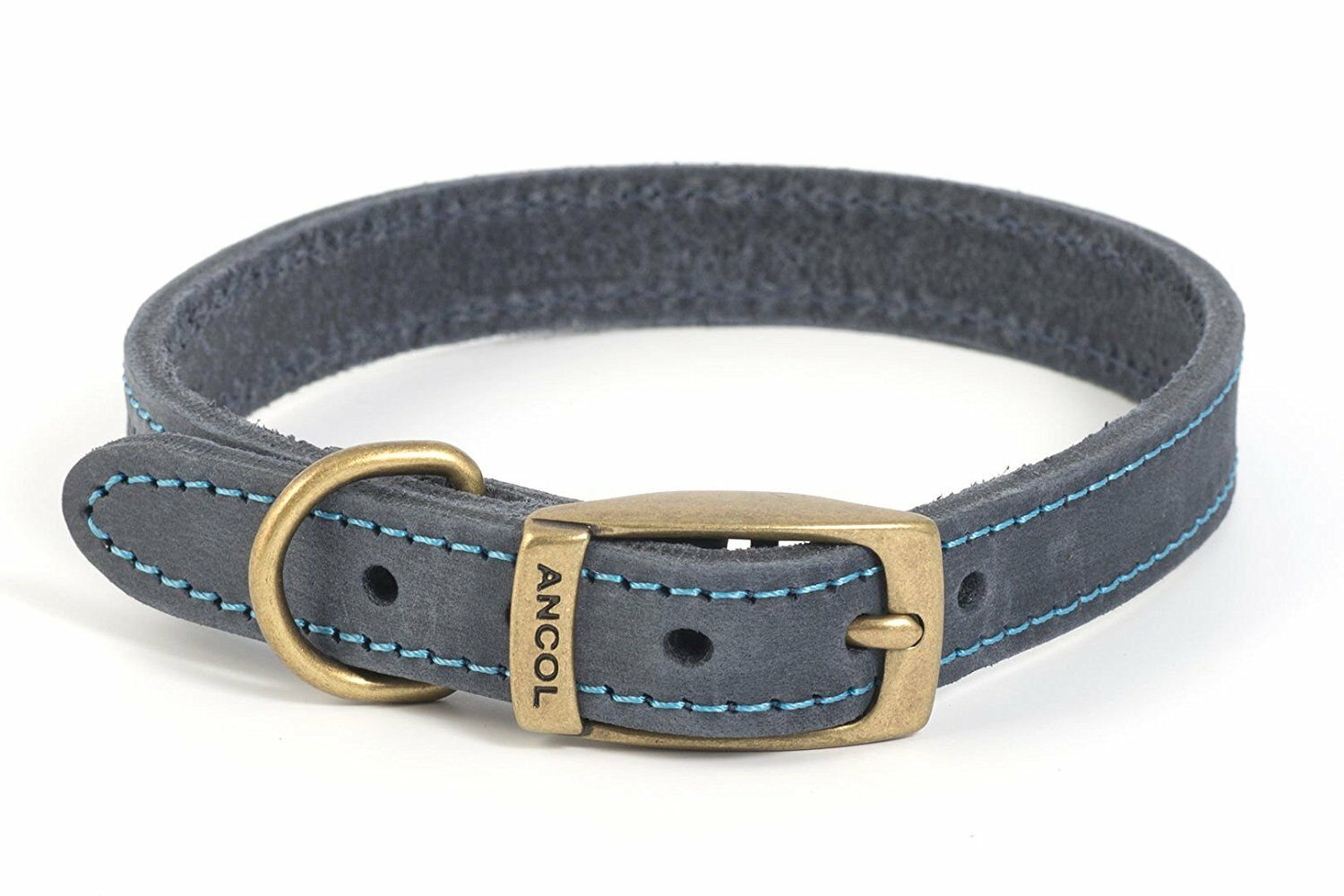 Ancol Timberwolf bridle leather dog collar/lead.Blue,Brown,G