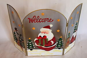 Father Christmas Welcome Metal Fire Guard, With Reindeer and a Bear- ON SALE