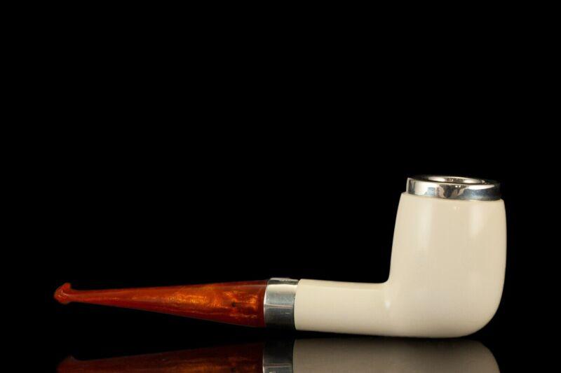 Smooth Billiard Pipe By Tekin-new-block Meerschaum Handmade W Case#459
