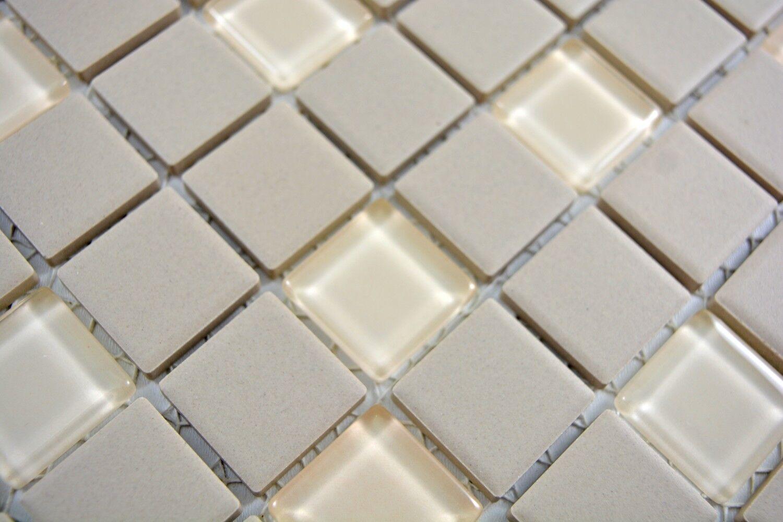 Mosaik Fliese Keramik hellbeige unglasiert Glas  Bad Art:18-1212-R10/_b