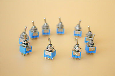 Onon Toggle Switch 10pcs Ac 125v 6a Mts-202 Panel Mounting Dpdt 6p 2 Position