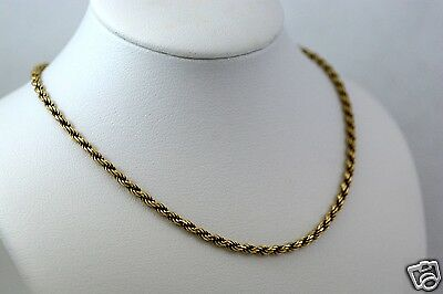Solid 18k Yellow Gold Rope Style Chain Necklace, 18.5