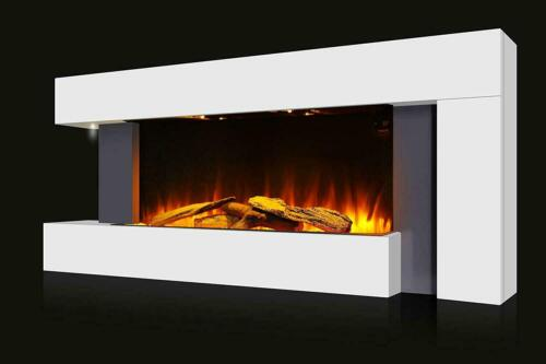 """50"""" Large LED Modern Fireplace Electric Heater Fire High Gloss glass Slim Flame"""