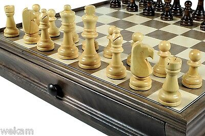 Deluxe Wooden chess set and Draughts Deluxe Wooden Chess Set