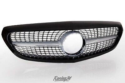 schwarz glänzend Diamant Grill Mercedes-Benz C-Klasse W205 S205 Optik Front