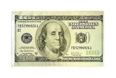 Hundred Dollar Bill Flag Money Banner 100 Party Pennant 3x5 Indoor Outdoor New - Party Dollar