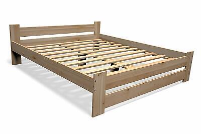Massivholz Bett (Erhöhtes Bett mit Kopfteil Holz Massivholzbett Seniorenbett Bettgestell natur)