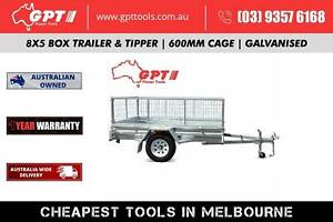 8X5 TIPPER TRAILER WITH 600MM CAGE GALVANISED