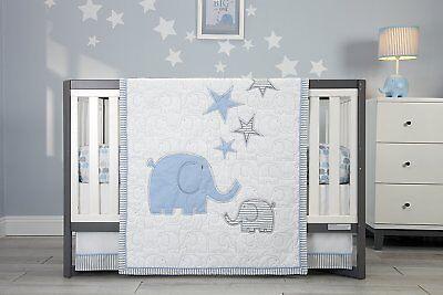 Zutano Elephant Elefant Blau 6 Pc Cotton Baby Crib Bedding Musical Mobile Set