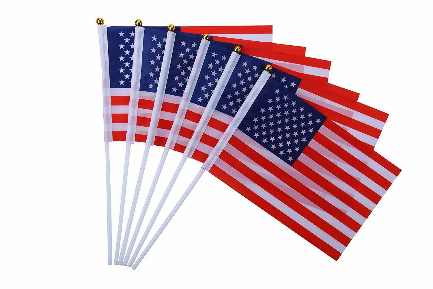 50 Pcs Small America Stick Flags, International World Stick