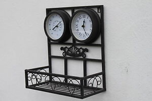 Garden Clock, Thermometer and Plant Holder- Outdoor or Indoor Use- FREE BATTERY