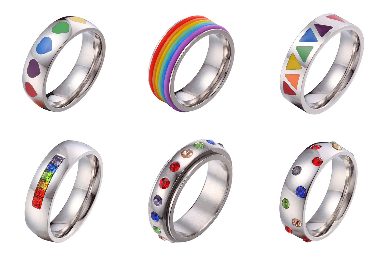 US Seller- LGBT Gay Pride Couple Wedding Rainbow 6MM Stainle