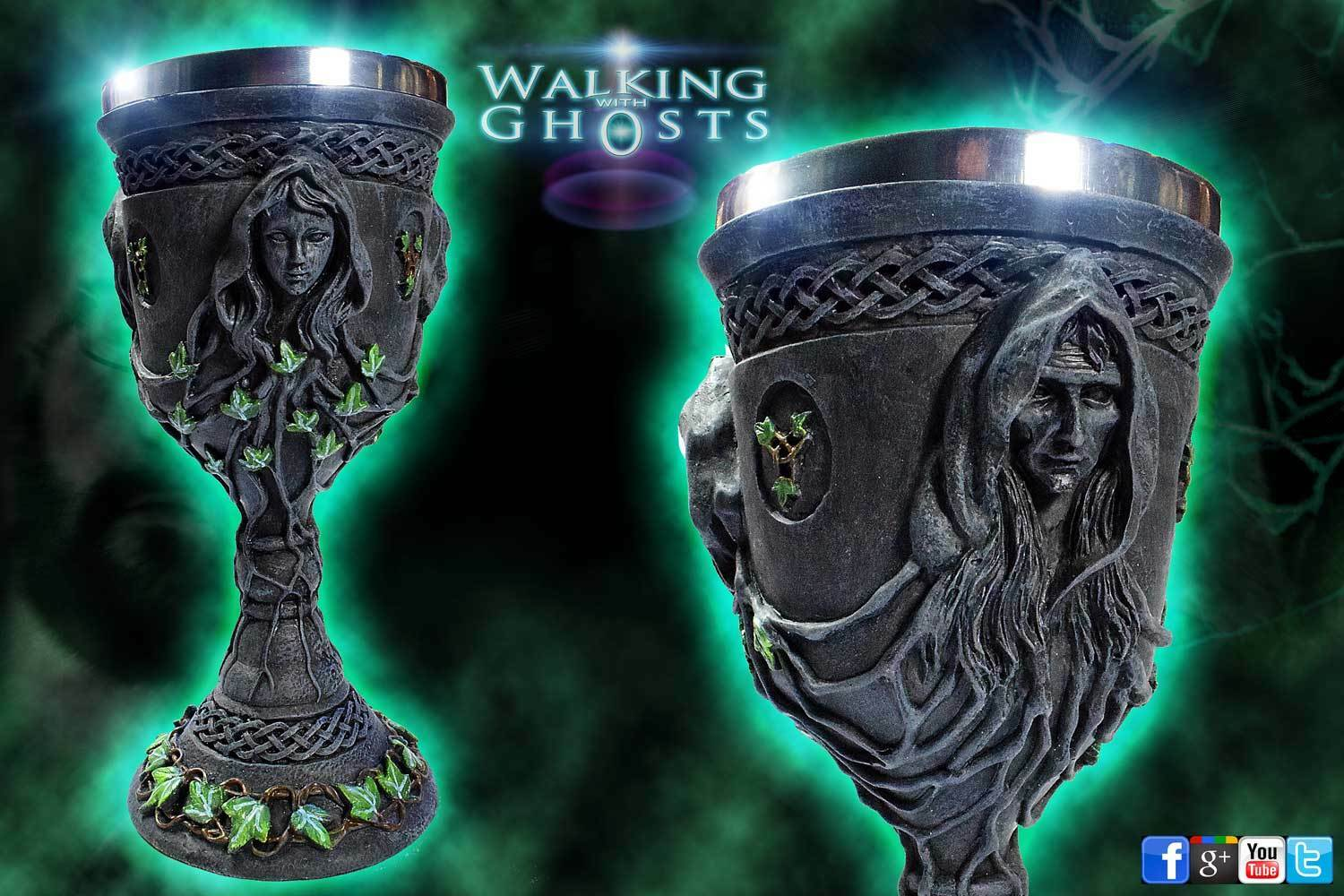 1x Mother Maiden Crone Alter Chalice Cup Goblet Celtic Pagan Wicca Triple Moon