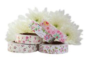 Set of 5 Fabric Masking Tapes Self Adhesive Cotton Craft   - Flower Design