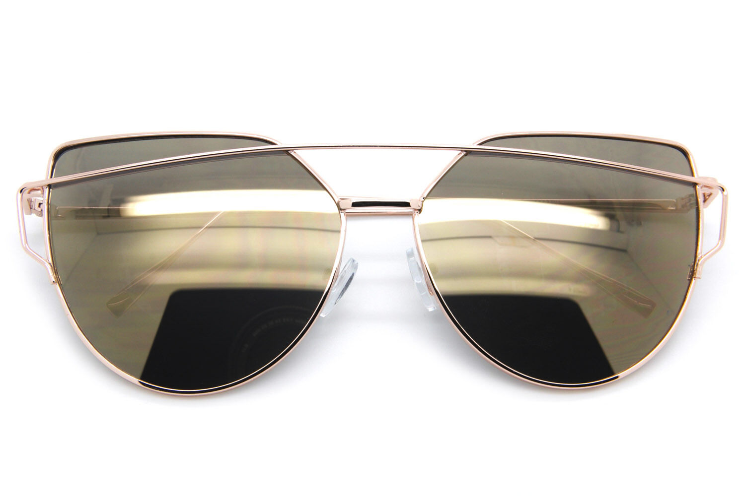 Large Oversized Cat Eye Women Sunglasses Flat Mirrored Lens Metal Frame Fashion