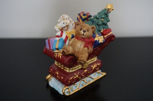 Traditions Porcelain Hinged Decorative Box Christmas Teddy Bear in Sled w Toys