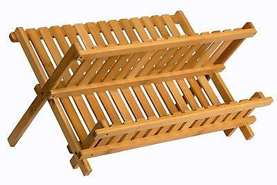 Wooden Dish Drying Rack Collapsible Compact Dish Rack Bamboo Dish Drainer