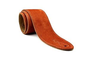 UK Made Copper Soft Suede Leather EXTRA WIDE Acoustic Electric Bass Guitar Strap