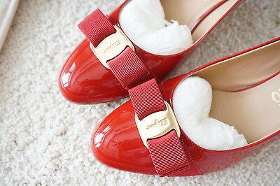 New Authentic Salvatore Ferragamo Carla Red Pump Shoes, Size 9B, $595