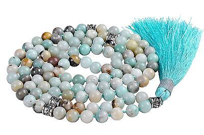 Malahill Buddhist Meditation Mala Prayer Japa Beads Necklace 108 pcs Amazonite