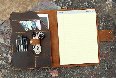 Vintage Leather Notepad Holder Tops Legal Pad Writing Pads 8.5 X 11.75 Portfolio