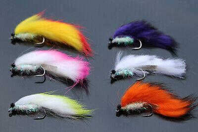 4 V Fly Size 4 Rio Grande Black Lead Eye Leech Sea Trout Flies