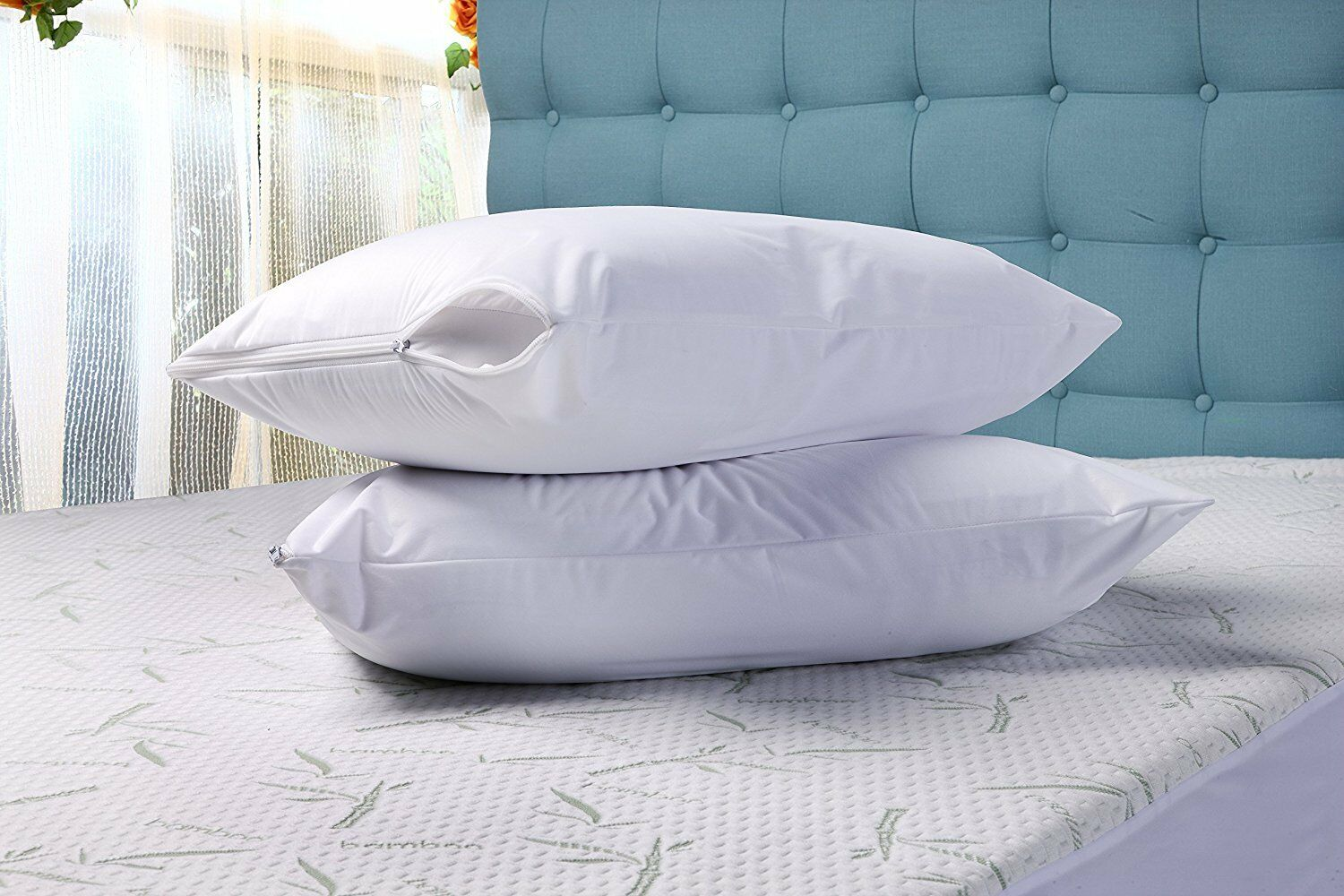 2 Pack/40 Pack Zippered Pillow Cover Encasement Waterproof U