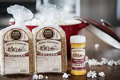 Amish Country Popcorn -2(2 lb bags)Baby White Gourmet 1(6 oz)Ballpark Salt- Pop!