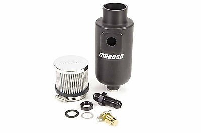 Moroso Breather Tank Dry Sump 1 qt. Round Polyethylene Black -8 AN Inlet (85404) Moroso Dry Sump Breather Tank