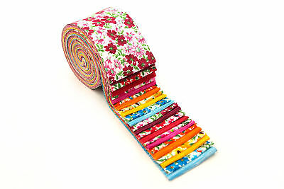 2.5 inch Beautiful Blossoms Jelly Roll 100% cotton fabric quilting 24 strips