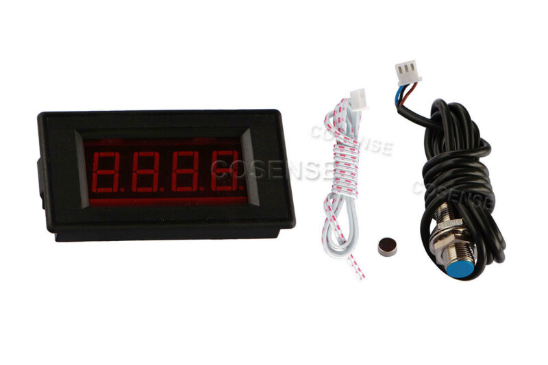 4 Digital Red LED Tachometer RPM Speed Meter + Hall Proximity Switch Sensor NPN