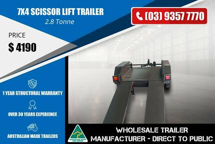 Scissor Lift Trailer - 7x4 - Checker Plate Guards Epping Whittlesea Area Preview