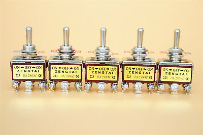 5 Pcs 3 Position Onoffon Momentary 2p2t Dpdt Toggle Switch For Ac 250v 15a