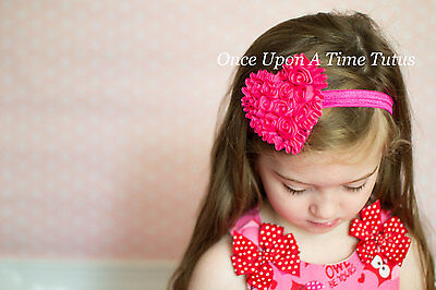 Hot Pink Heart Hairbow Valentines Day Newborn Baby Girl Size Headband Hair Bow